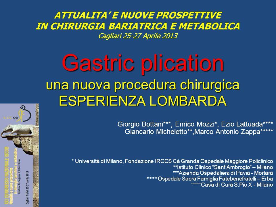 Gastric plication una nuova procedura chirurgica ESPERIENZA LOMBARDA Giorgio Bottani***, Enrico Mozzi*, Ezio Lattuada**** Giancarlo Micheletto**,Marco