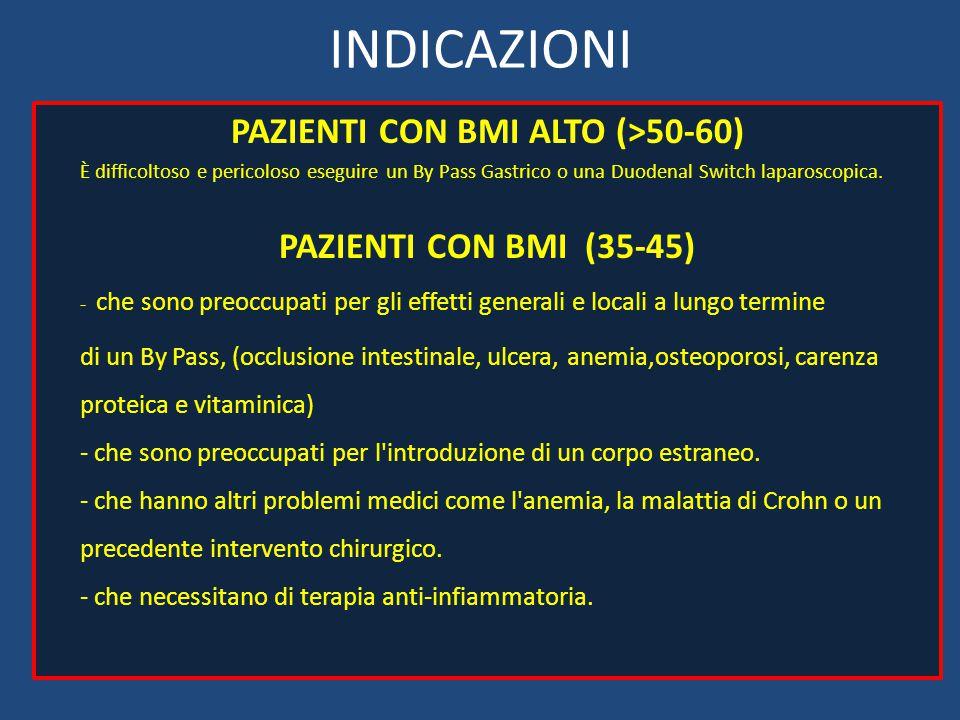 INDICAZIONI PAZIENTI CON BMI ALTO (>50-60) È difficoltoso e pericoloso eseguire un By Pass Gastrico o una Duodenal Switch laparoscopica. PAZIENTI CON
