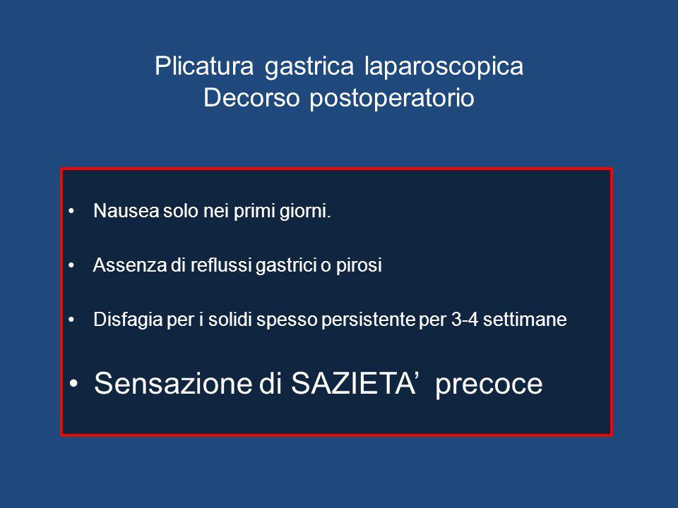 Plicatura gastrica laparoscopica Decorso postoperatorio Nausea solo nei primi giorni. Assenza di reflussi gastrici o pirosi Disfagia per i solidi spes