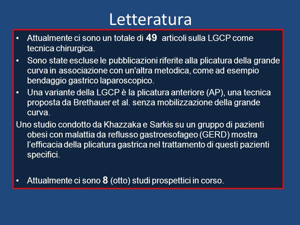 Letteratura Attualmente ci sono un totale di 49 articoli sulla LGCP come tecnica chirurgica. Sono state escluse le pubblicazioni riferite alla plicatu
