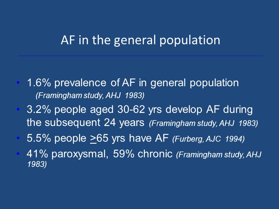 AF in the general population 1.6% prevalence of AF in general population (Framingham study, AHJ 1983) 3.2% people aged 30-62 yrs develop AF during the subsequent 24 years (Framingham study, AHJ 1983) 5.5% people >65 yrs have AF (Furberg, AJC 1994) 41% paroxysmal, 59% chronic (Framingham study, AHJ 1983)