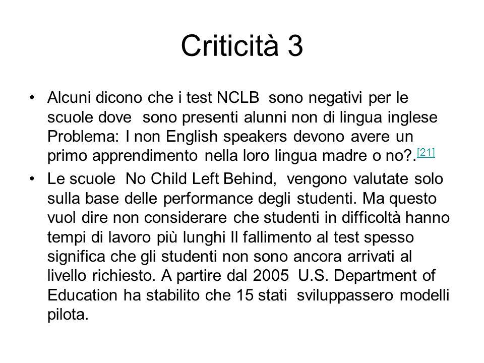 Criticità 3 Alcuni dicono che i test NCLB sono negativi per le scuole dove sono presenti alunni non di lingua inglese Problema: I non English speakers devono avere un primo apprendimento nella loro lingua madre o no?.