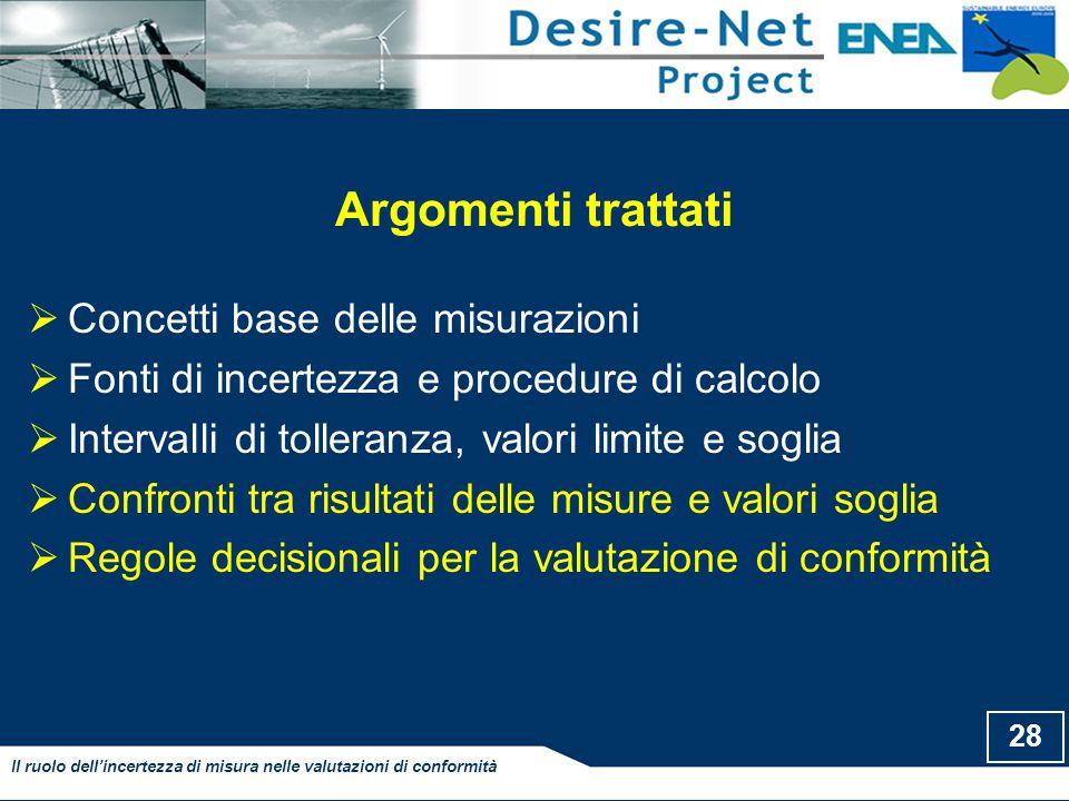 28 Il ruolo dell'incertezza di misura nelle valutazioni di conformità Argomenti trattati  Concetti base delle misurazioni  Fonti di incertezza e pro