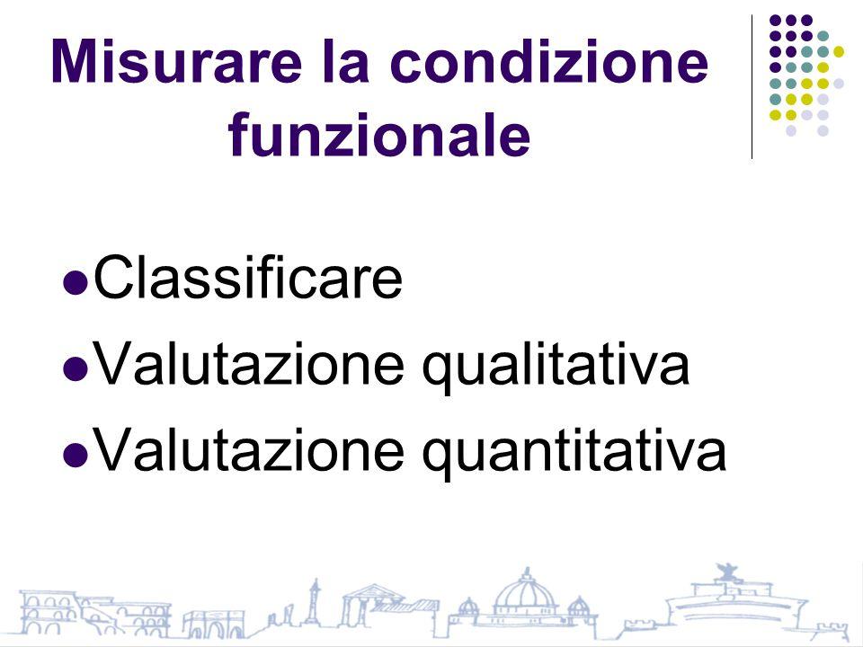 Misurare la condizione funzionale Classificare Valutazione qualitativa Valutazione quantitativa