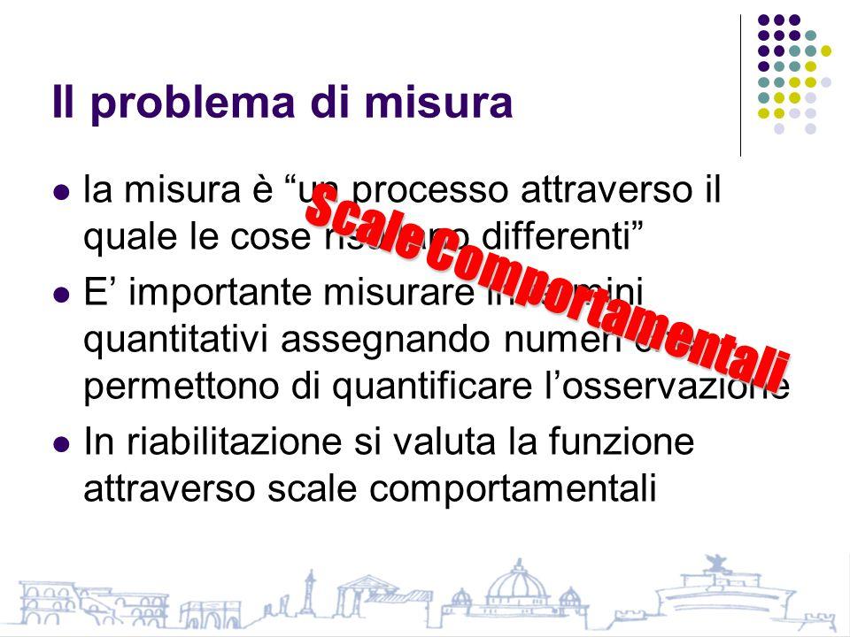 Il problema di misura la misura è un processo attraverso il quale le cose risultano differenti E' importante misurare in termini quantitativi assegnando numeri che permettono di quantificare l'osservazione In riabilitazione si valuta la funzione attraverso scale comportamentali Scale Comportamentali