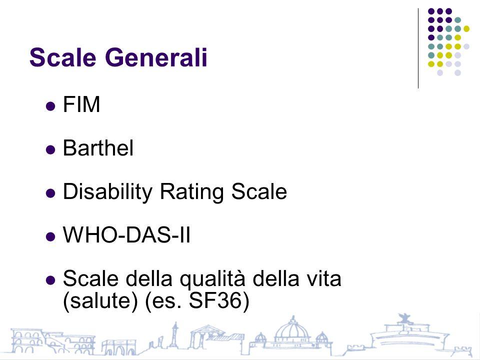 Scale Generali FIM Barthel Disability Rating Scale WHO-DAS-II Scale della qualità della vita (salute) (es.