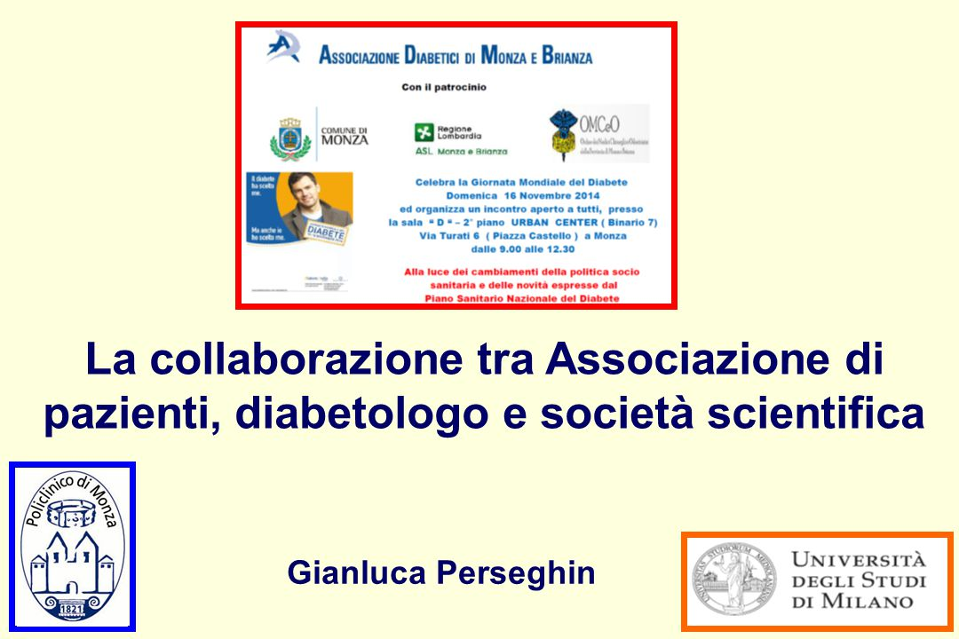 Impegno di molti professionisti della salute Person with Diabetes General Practitioner Diabetologist Doctor in Physical Activities Nurse Dietitian Psychologist Nephrologist Ophthalmologist Cardiologist Neurologist Many others Podiatrist