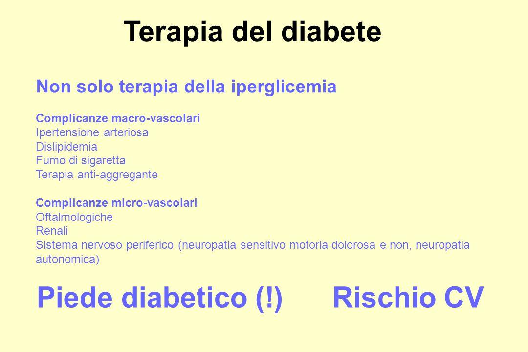 Non solo terapia della iperglicemia Complicanze macro-vascolari Ipertensione arteriosa Dislipidemia Fumo di sigaretta Terapia anti-aggregante Complicanze micro-vascolari Oftalmologiche Renali Sistema nervoso periferico (neuropatia sensitivo motoria dolorosa e non, neuropatia autonomica) Terapia del diabete Piede diabetico (!)Rischio CV