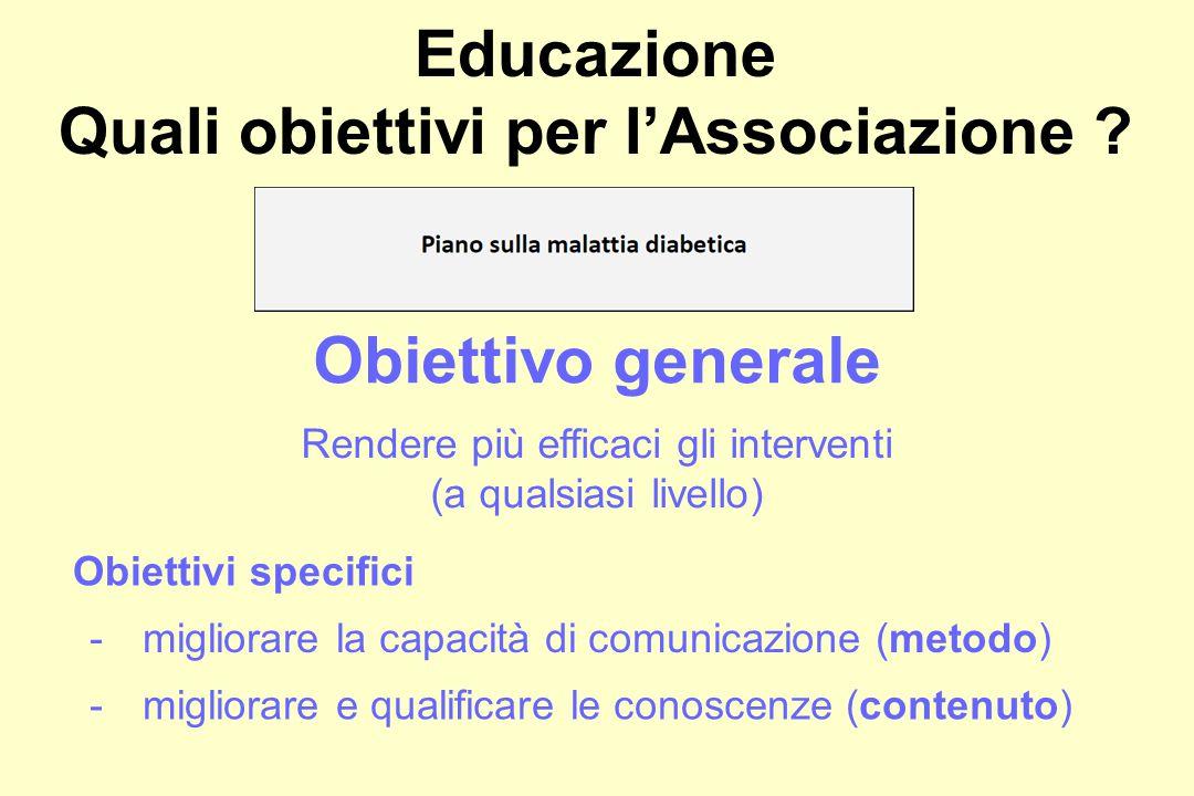 Educazione Quali obiettivi per l'Associazione .