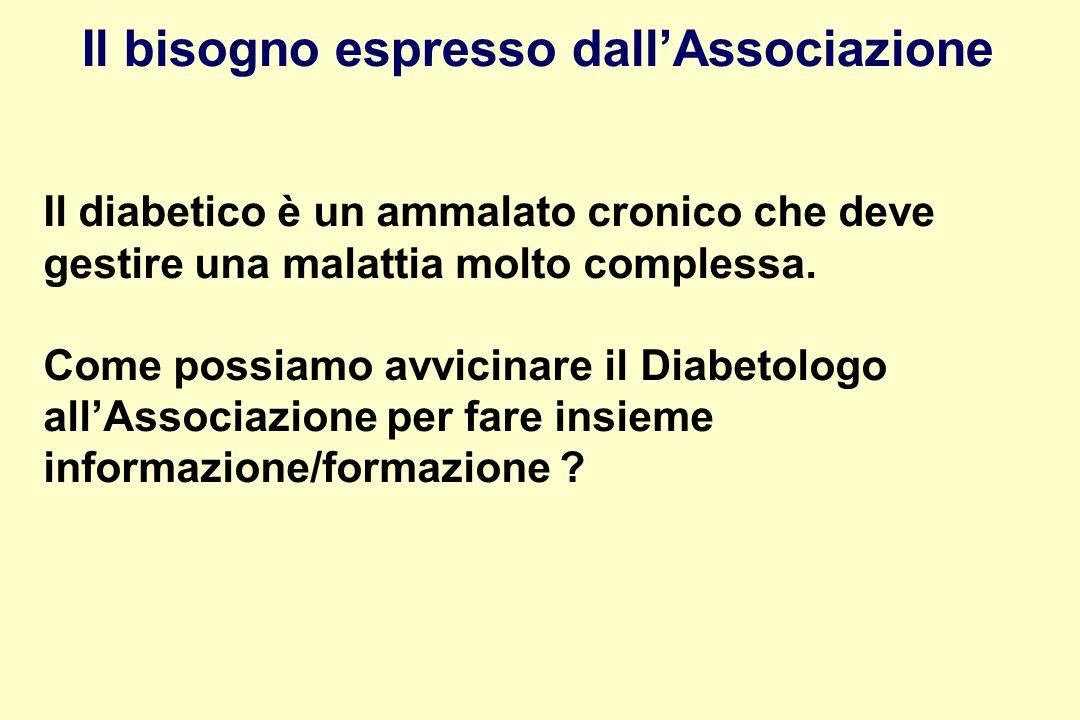Il diabetico è un ammalato cronico che deve gestire una malattia molto complessa.