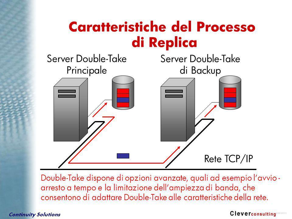 Continuity Solutions Double-Take dispone di opzioni avanzate, quali ad esempio l'avvio - arresto a tempo e la limitazione dell'ampiezza di banda, che consentono di adattare Double-Take alle caratteristiche della rete.