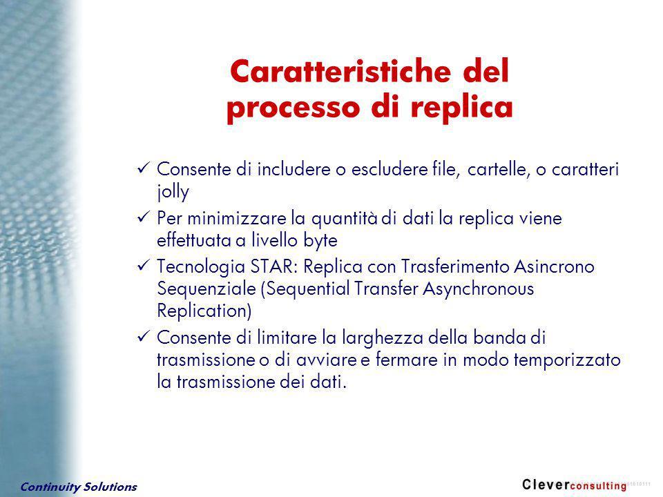 Continuity Solutions Consente di includere o escludere file, cartelle, o caratteri jolly Per minimizzare la quantità di dati la replica viene effettua