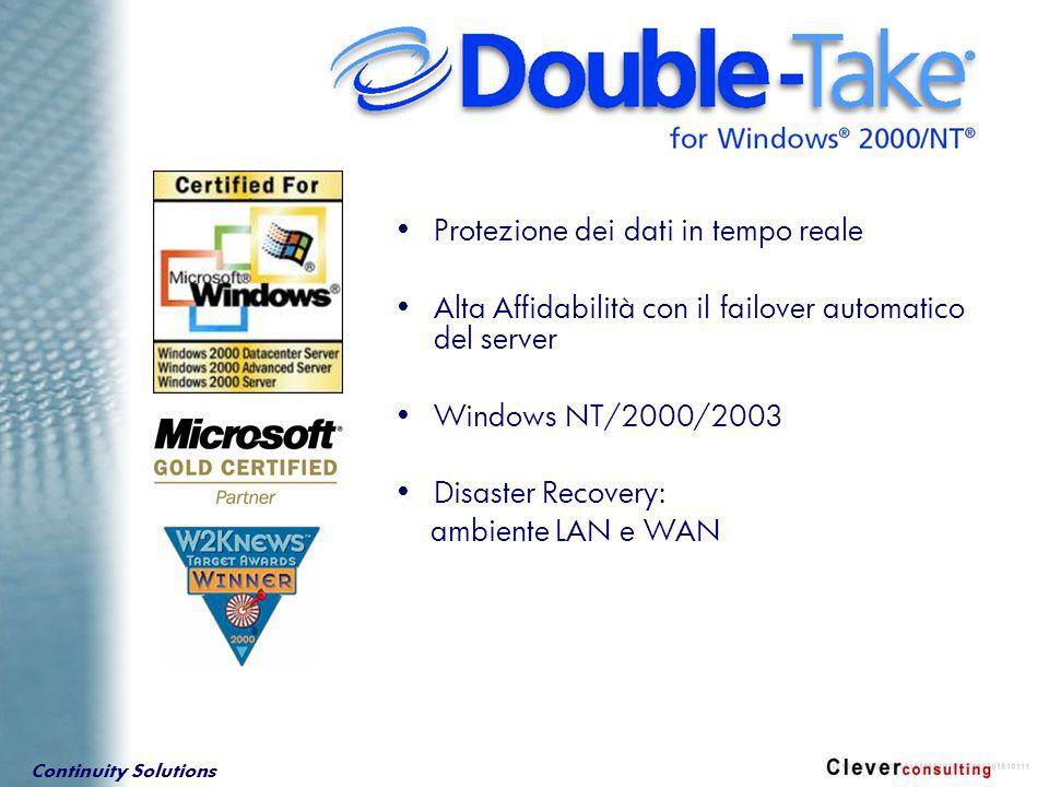 Continuity Solutions SQL Server 7.0 and 2000 Exchange Server 5.5 Exchange 2000 IIS4 and IIS5 Oracle, Sybase, Informix, … Lotus Notes File e Print services e altro ….