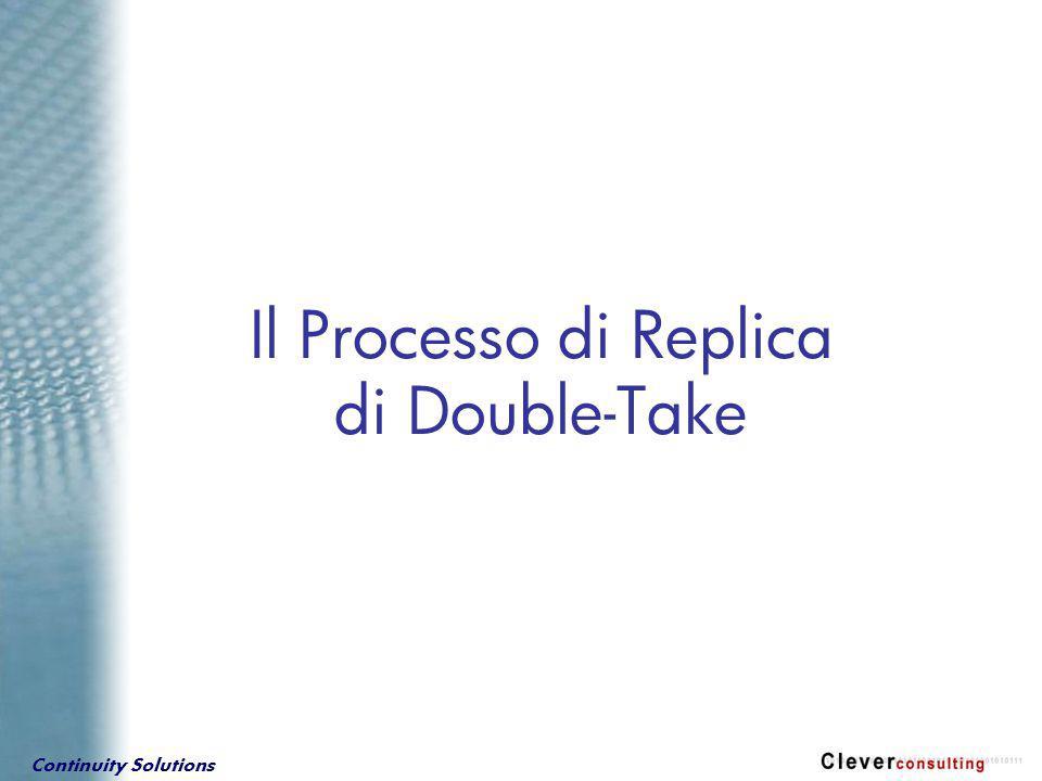 Continuity Solutions … dalla prospettiva di DOUBLE-TAKE Come funziona il processo di replica… Ogni operazione su disco, inviata al server, contiene gli stessi dati, ma alcuni parametri possono essere modificati da Double-Take ( es.