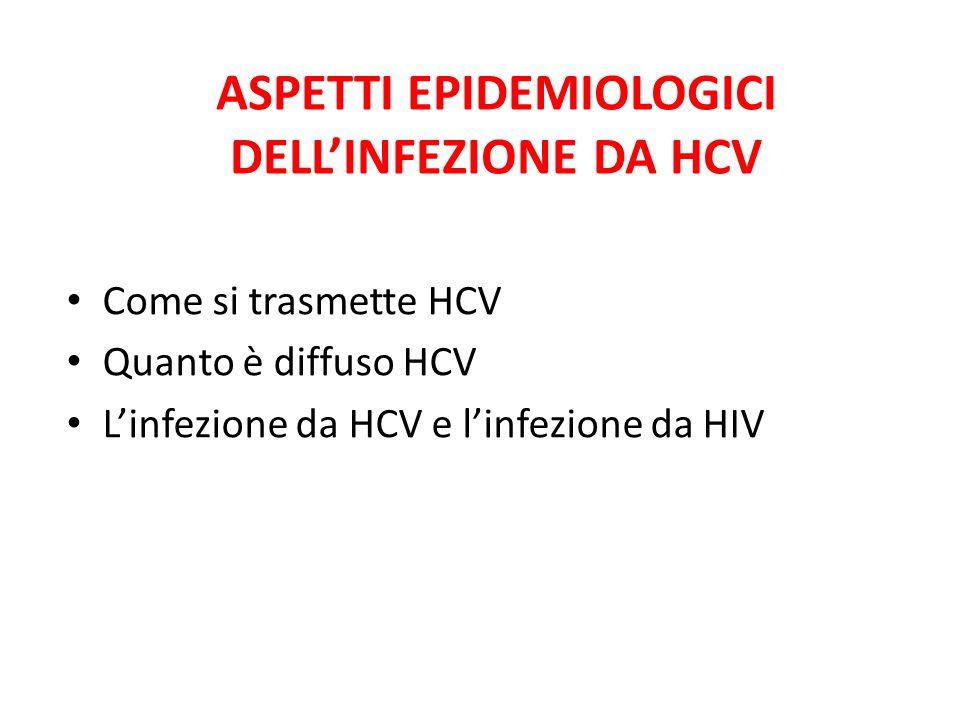 ASPETTI EPIDEMIOLOGICI DELL'INFEZIONE DA HCV Come si trasmette HCV Quanto è diffuso HCV L'infezione da HCV e l'infezione da HIV