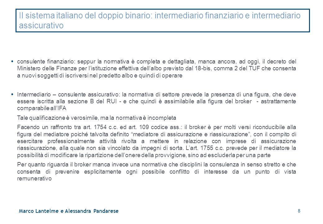 8 Marco Lantelme e Alessandra Pandarese Il sistema italiano del doppio binario: intermediario finanziario e intermediario assicurativo  consulente fi