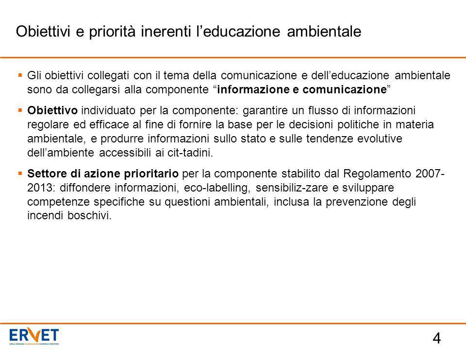 """4  Gli obiettivi collegati con il tema della comunicazione e dell'educazione ambientale sono da collegarsi alla componente """"informazione e comunicazi"""