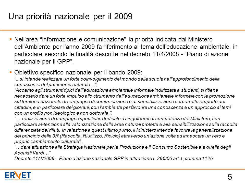 5  Nell'area informazione e comunicazione la priorità indicata dal Ministero dell'Ambiente per l'anno 2009 fa riferimento al tema dell'educazione ambientale, in particolare secondo le finalità descritte nel decreto 11/4/2008 - Piano di azione nazionale per il GPP .