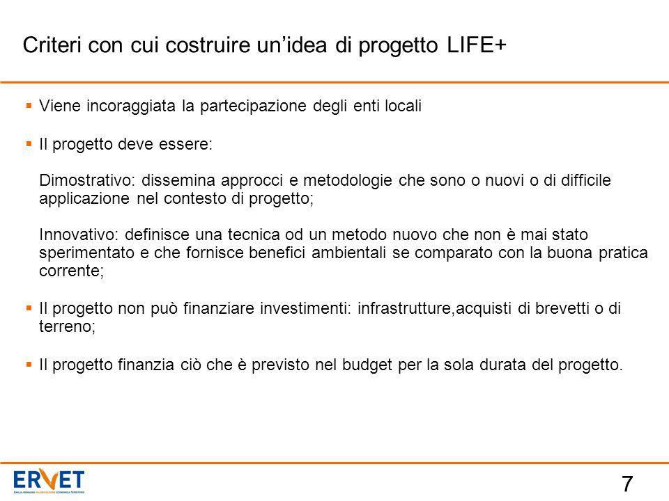 7  Viene incoraggiata la partecipazione degli enti locali  Il progetto deve essere: Dimostrativo: dissemina approcci e metodologie che sono o nuovi