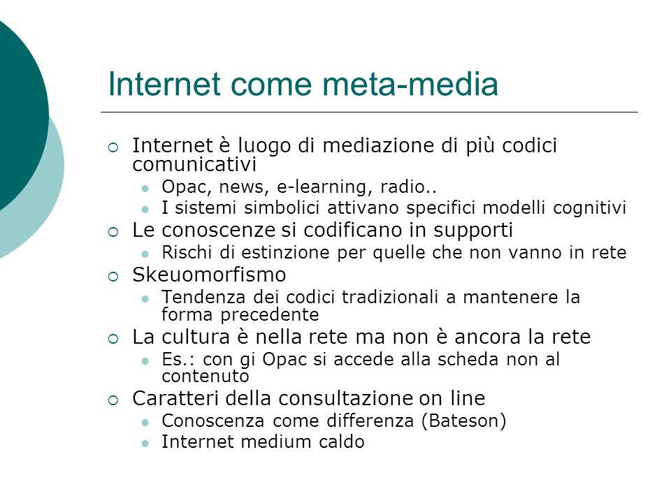 Internet come meta-media  Internet è luogo di mediazione di più codici comunicativi Opac, news, e-learning, radio..