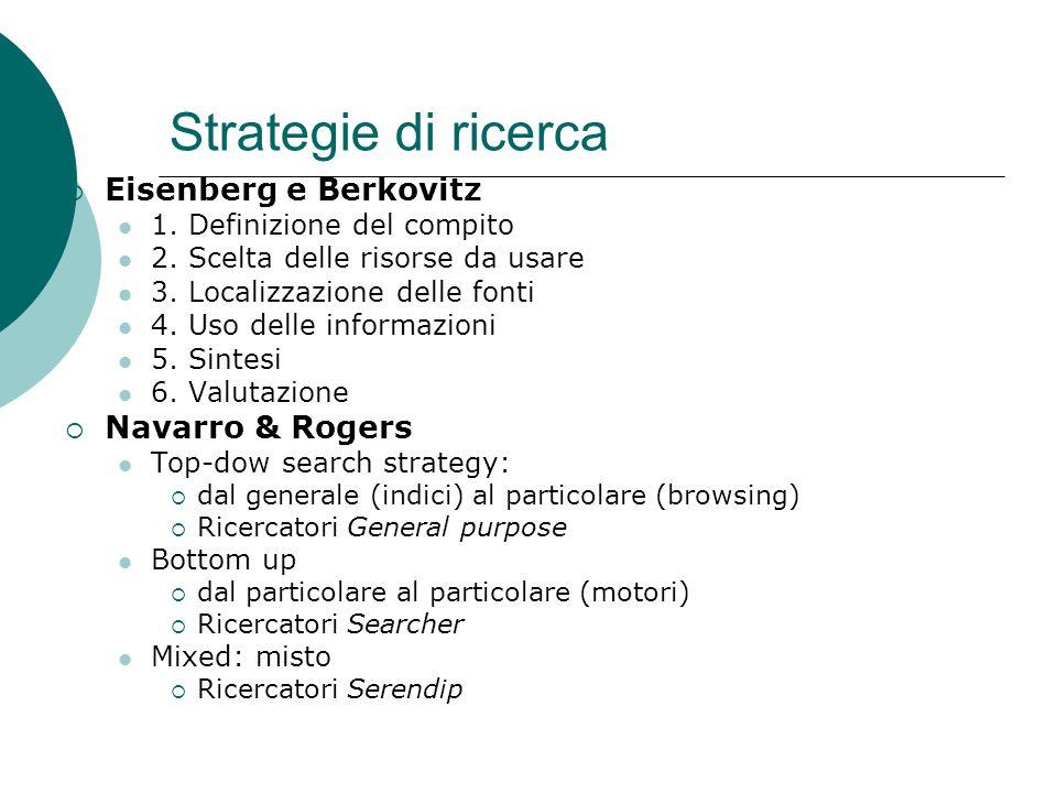 Strategie di ricerca  Eisenberg e Berkovitz 1. Definizione del compito 2.