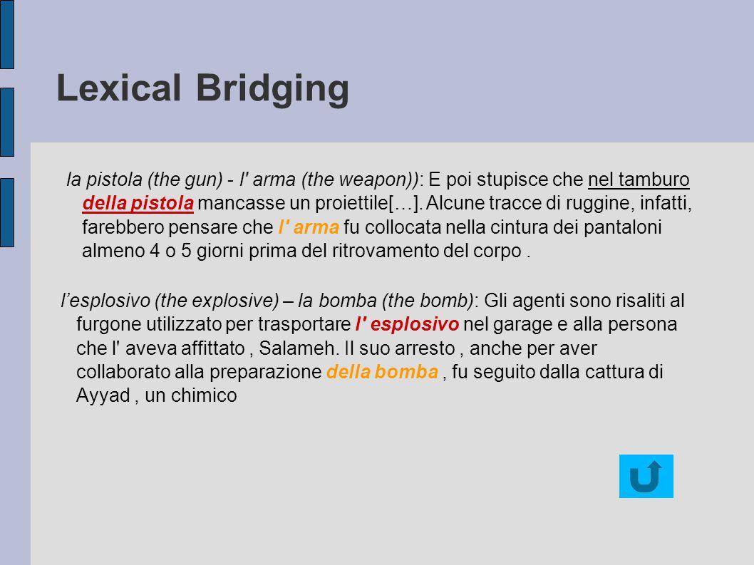 Lexical Bridging la pistola (the gun) - l arma (the weapon)): E poi stupisce che nel tamburo della pistola mancasse un proiettile[…].