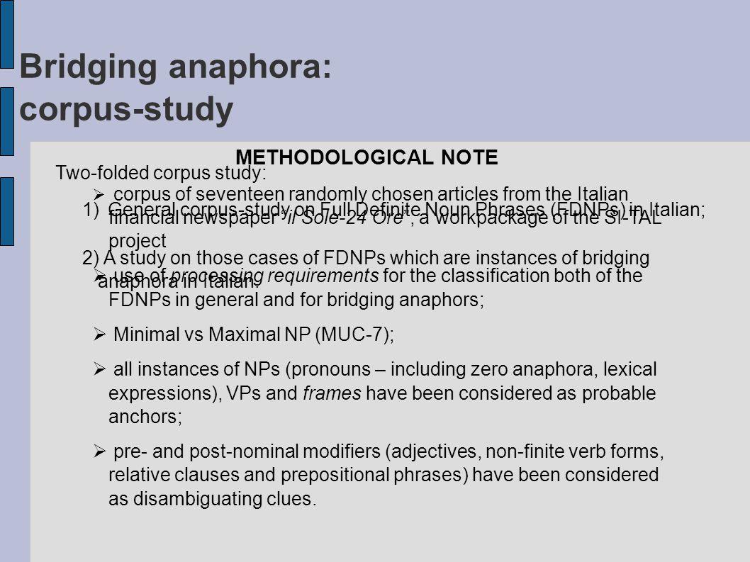 Bridging anaphora: corpus-study (1) CLASS NUMBER OF ITEMS PERCENTAGE First Mention83358.61% Direct Anaphora17012.03% Bridging29921.17% Possessives362.54% Idiom251.62% Doubt493.47% Total1412100% Full Definite Noun Phrases in Italian :
