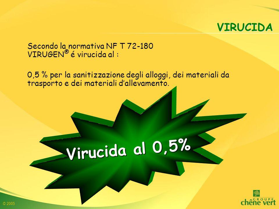 © 2005 VIRUCIDA Secondo la normativa NF T 72-180 VIRUGEN ® é virucida al : 0,5 % per la sanitizzazione degli alloggi, dei materiali da trasporto e dei materiali d'allevamento.