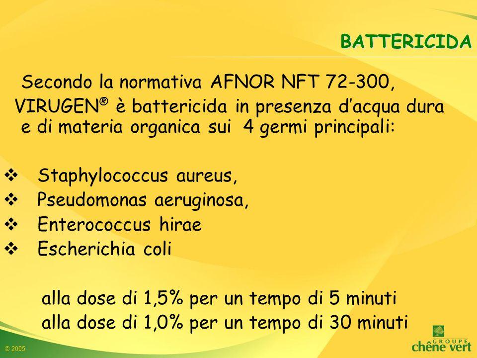 © 2005 BATTERICIDA Secondo la normativa AFNOR NFT 72-300, VIRUGEN ® è battericida in presenza d'acqua dura e di materia organica sui 4 germi principali:  Staphylococcus aureus,  Pseudomonas aeruginosa,  Enterococcus hirae  Escherichia coli alla dose di 1,5% per un tempo di 5 minuti alla dose di 1,0% per un tempo di 30 minuti
