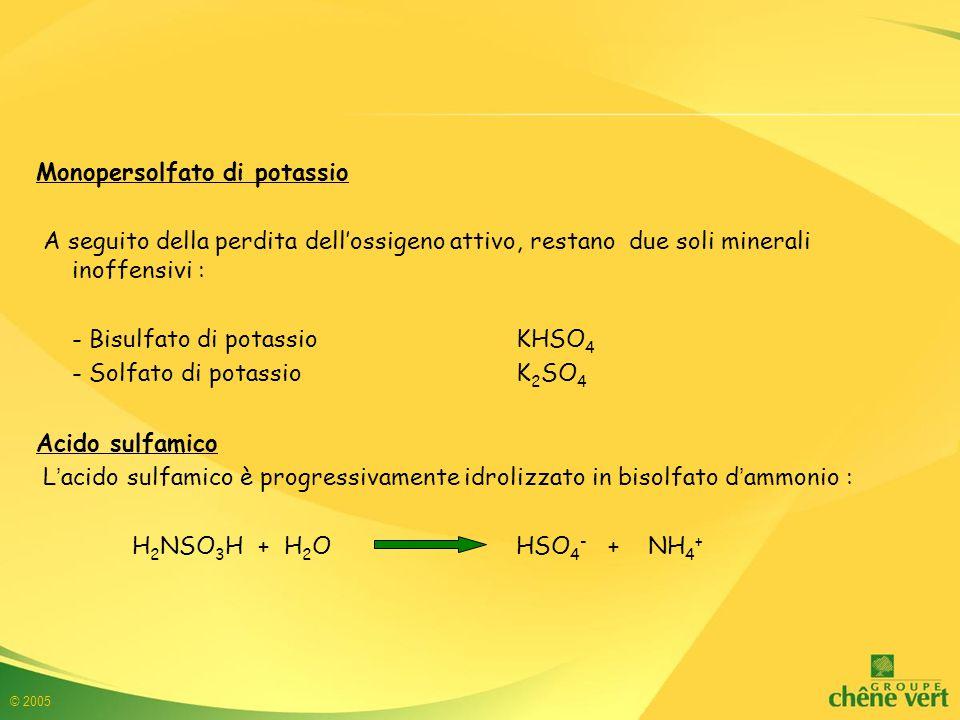 © 2005 Monopersolfato di potassio A seguito della perdita dell'ossigeno attivo, restano due soli minerali inoffensivi : - Bisulfato di potassioKHSO 4 - Solfato di potassioK 2 SO 4 Acido sulfamico L'acido sulfamico è progressivamente idrolizzato in bisolfato d'ammonio : H 2 NSO 3 H + H 2 O HSO 4 - + NH 4 +