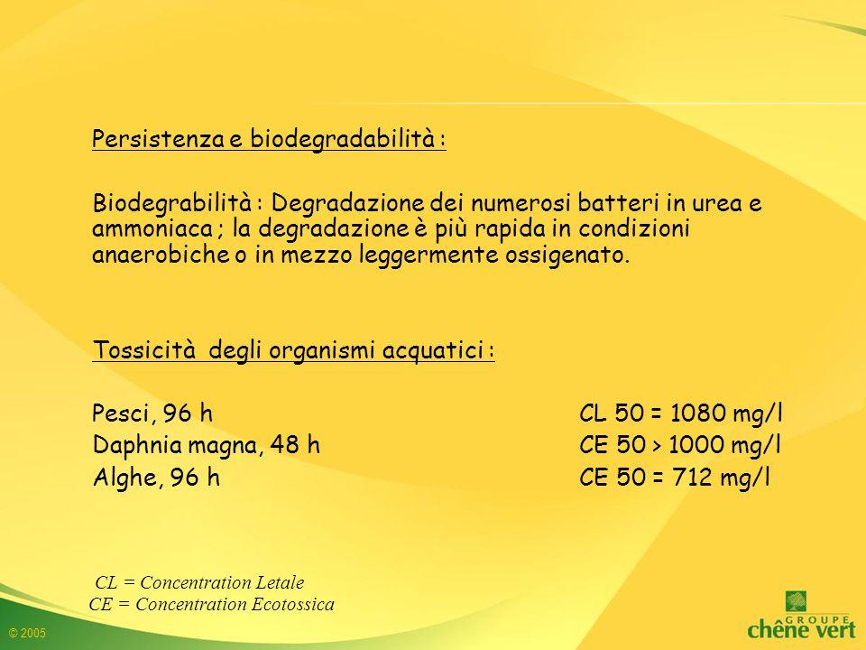 © 2005 Persistenza e biodegradabilità : Biodegrabilità : Degradazione dei numerosi batteri in urea e ammoniaca ; la degradazione è più rapida in condizioni anaerobiche o in mezzo leggermente ossigenato.