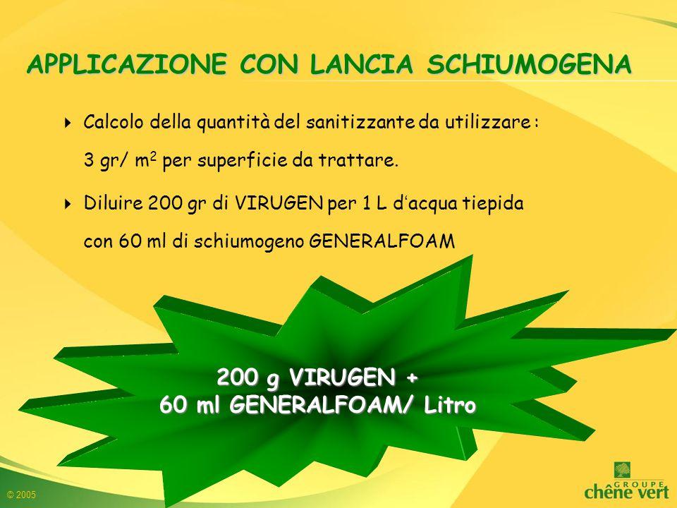 © 2005 APPLICAZIONE CON LANCIA SCHIUMOGENA  Calcolo della quantità del sanitizzante da utilizzare : 3 gr/ m 2 per superficie da trattare.