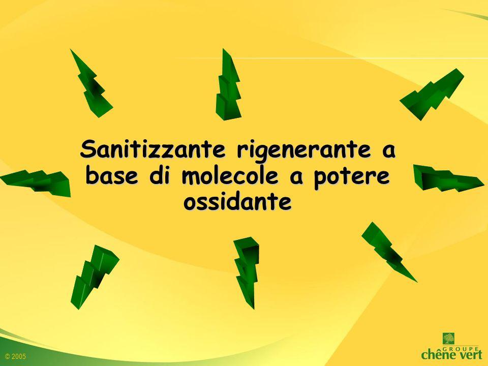 © 2005 BATTERICIDA Normativa NF T 72-300 1 %30 minMatieria organica 1,5 %5 minMatieria organica 0,4 %5 minAcqua dura 30° F Staphylococcus aureus 1 %30 minMatieria organica 1 %5 minMatieria organica 0,2 %5 minAcqua dura 30° F Pseudomonas aeruginosa 0,5 %30 minMateria organica 0,5 %5 minMatieria organica 0,2 %5 minAcqua dura 30° F Escherichia coli 0,75 %30 minMateria organica 1,5 %5 minMateria organica 0,2 %5 minAcqua dura 30° F Enterococcus hiraeConcentrazione Tempi di contatto Materia Interferente Batteri