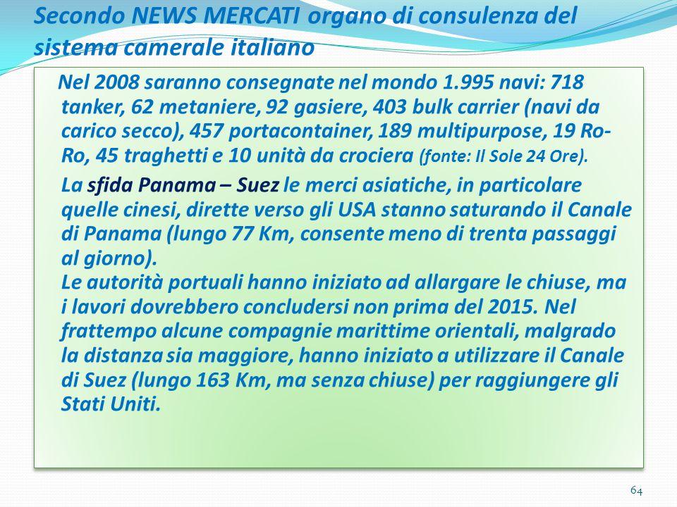 Secondo NEWS MERCATI organo di consulenza del sistema camerale italiano Nel 2008 saranno consegnate nel mondo 1.995 navi: 718 tanker, 62 metaniere, 92