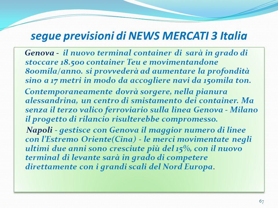 segue previsioni di NEWS MERCATI 3 Italia Genova - il nuovo terminal container di sarà in grado di stoccare 18.500 container Teu e movimentandone 800m