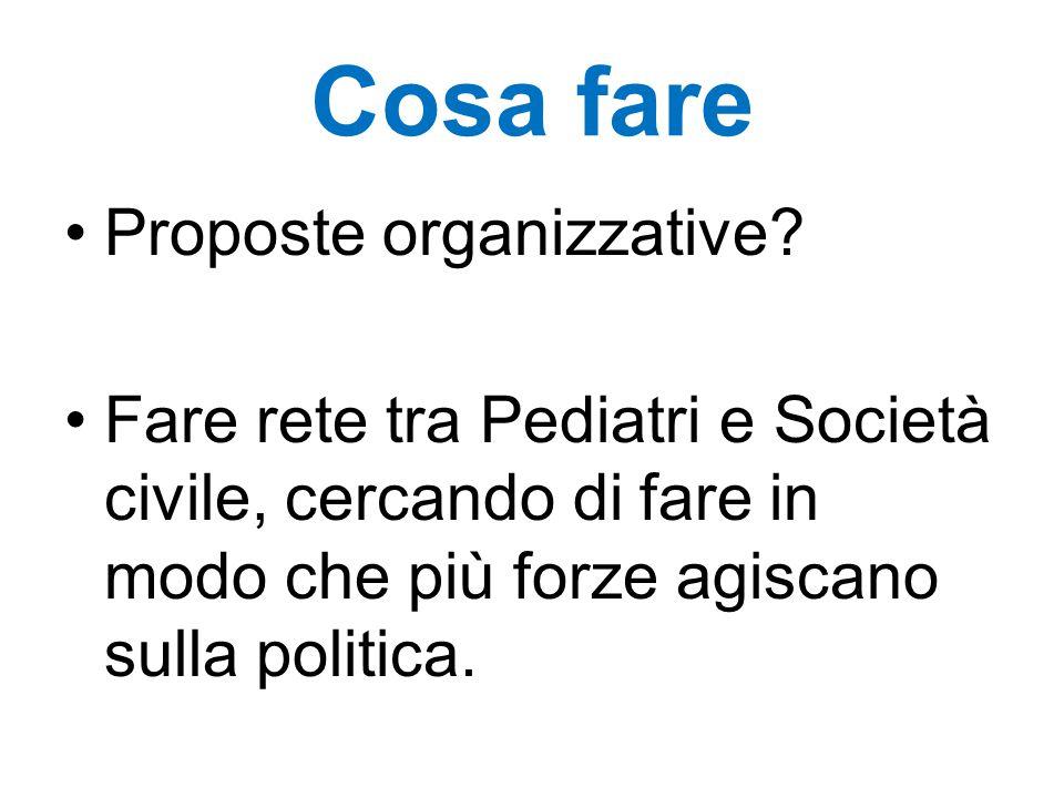 Cosa fare Proposte organizzative? Fare rete tra Pediatri e Società civile, cercando di fare in modo che più forze agiscano sulla politica.