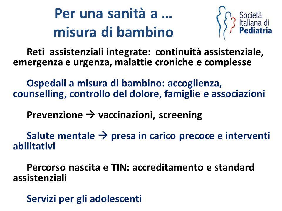 Per una sanità a … misura di bambino Reti assistenziali integrate: continuità assistenziale, emergenza e urgenza, malattie croniche e complesse Ospeda
