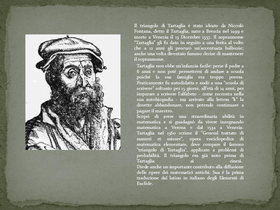 Il triangolo di Tartaglia è stato ideato da Niccolò Fontana, detto il Tartaglia, nato a Brescia nel 1499 e morto a Venezia il 13 Dicembre 1557. Il sop