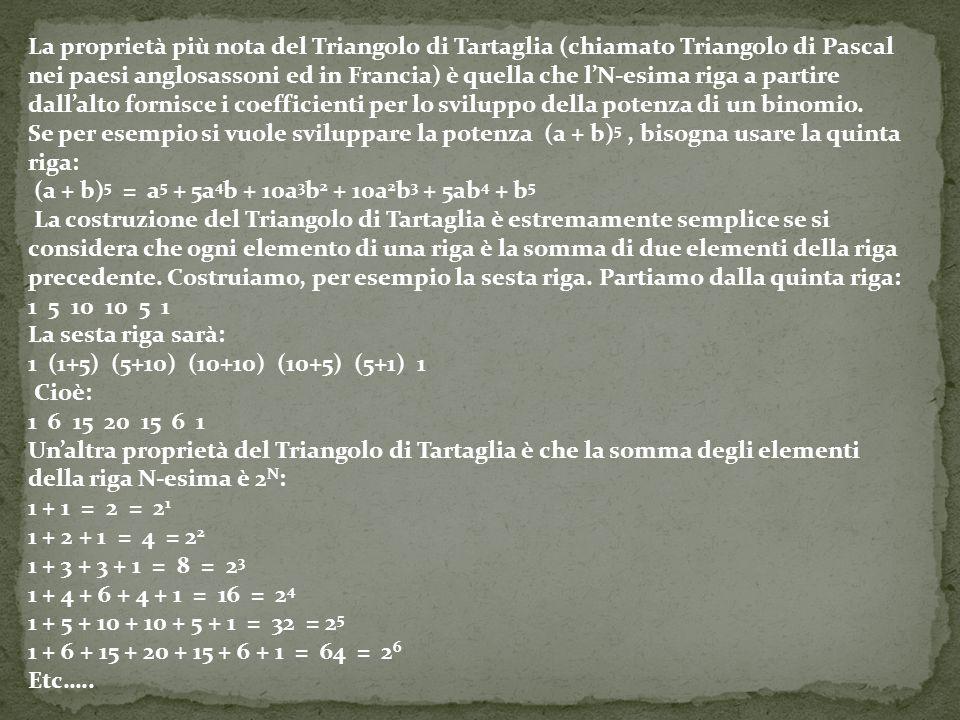 La proprietà più nota del Triangolo di Tartaglia (chiamato Triangolo di Pascal nei paesi anglosassoni ed in Francia) è quella che l'N-esima riga a par