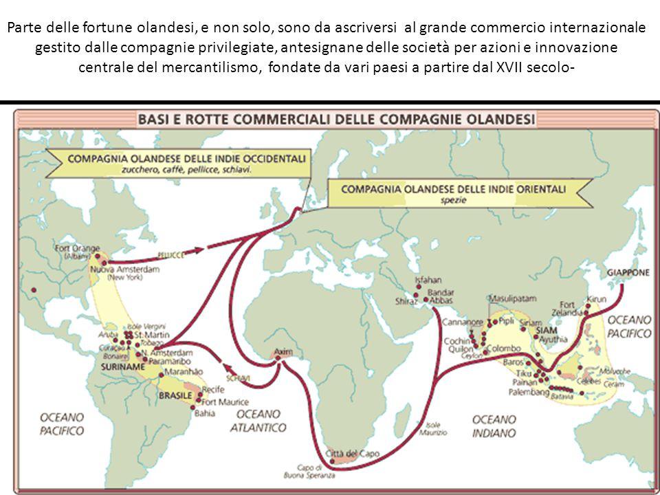 Parte delle fortune olandesi, e non solo, sono da ascriversi al grande commercio internazionale gestito dalle compagnie privilegiate, antesignane dell