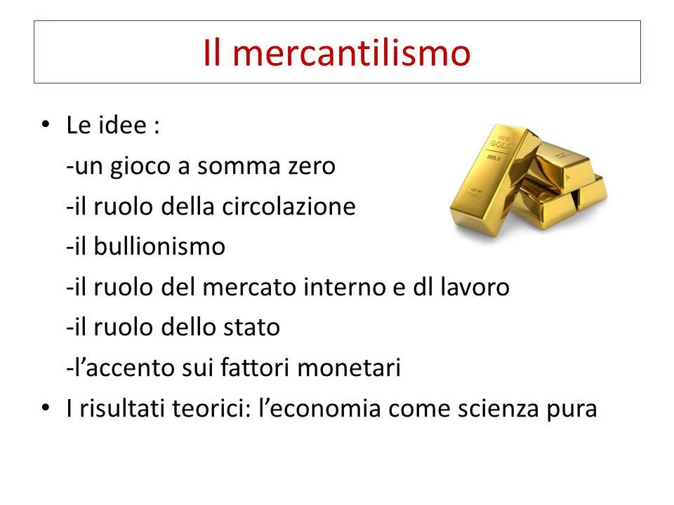 Le idee : -un gioco a somma zero -il ruolo della circolazione -il bullionismo -il ruolo del mercato interno e dl lavoro -il ruolo dello stato -l'accen