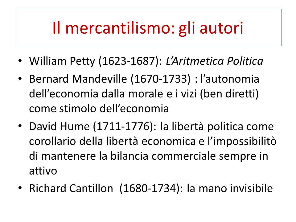 Il mercantilismo: gli autori William Petty (1623-1687): L'Aritmetica Politica Bernard Mandeville (1670-1733) : l'autonomia dell'economia dalla morale e i vizi (ben diretti) come stimolo dell'economia David Hume (1711-1776): la libertà politica come corollario della libertà economica e l'impossibilitò di mantenere la bilancia commerciale sempre in attivo Richard Cantillon (1680-1734): la mano invisibile