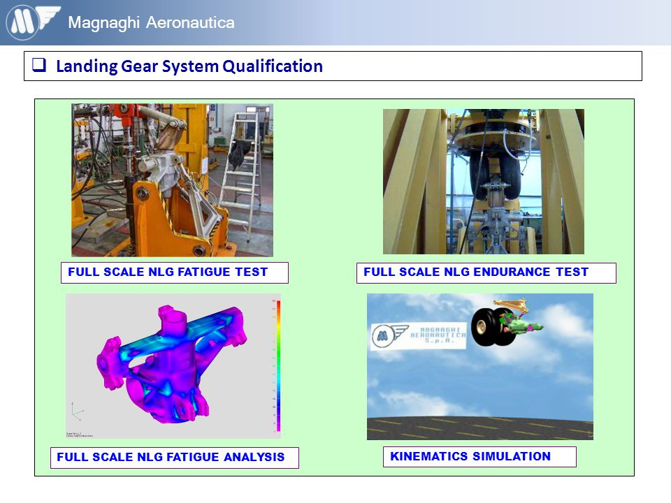 Magnaghi Aeronautica  Landing Gear System Qualification FULL SCALE NLG FATIGUE TEST FULL SCALE NLG FATIGUE ANALYSIS FULL SCALE NLG ENDURANCE TEST KIN