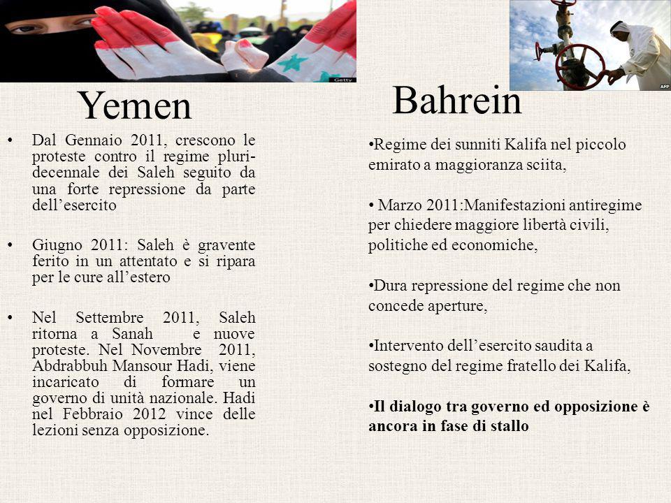 Yemen Dal Gennaio 2011, crescono le proteste contro il regime pluri- decennale dei Saleh seguito da una forte repressione da parte dell'esercito Giugn