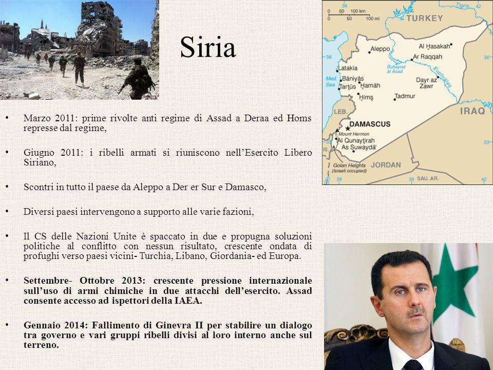 Siria Marzo 2011: prime rivolte anti regime di Assad a Deraa ed Homs represse dal regime, Giugno 2011: i ribelli armati si riuniscono nell'Esercito Li