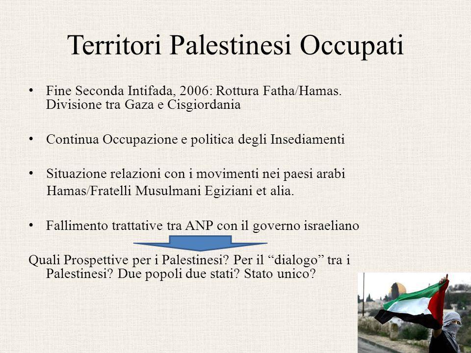 Territori Palestinesi Occupati Fine Seconda Intifada, 2006: Rottura Fatha/Hamas. Divisione tra Gaza e Cisgiordania Continua Occupazione e politica deg