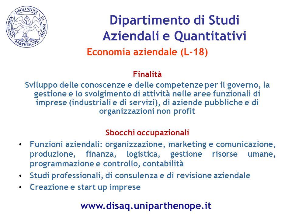 Economia aziendale (L-18) Finalità Sviluppo delle conoscenze e delle competenze per il governo, la gestione e lo svolgimento di attività nelle aree fu