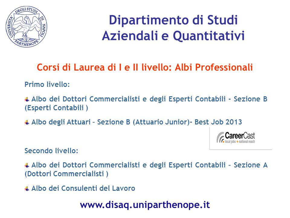 Dipartimento di Studi Aziendali e Quantitativi Corsi di Laurea di I e II livello: Albi Professionali Primo livello: Albo dei Dottori Commercialisti e