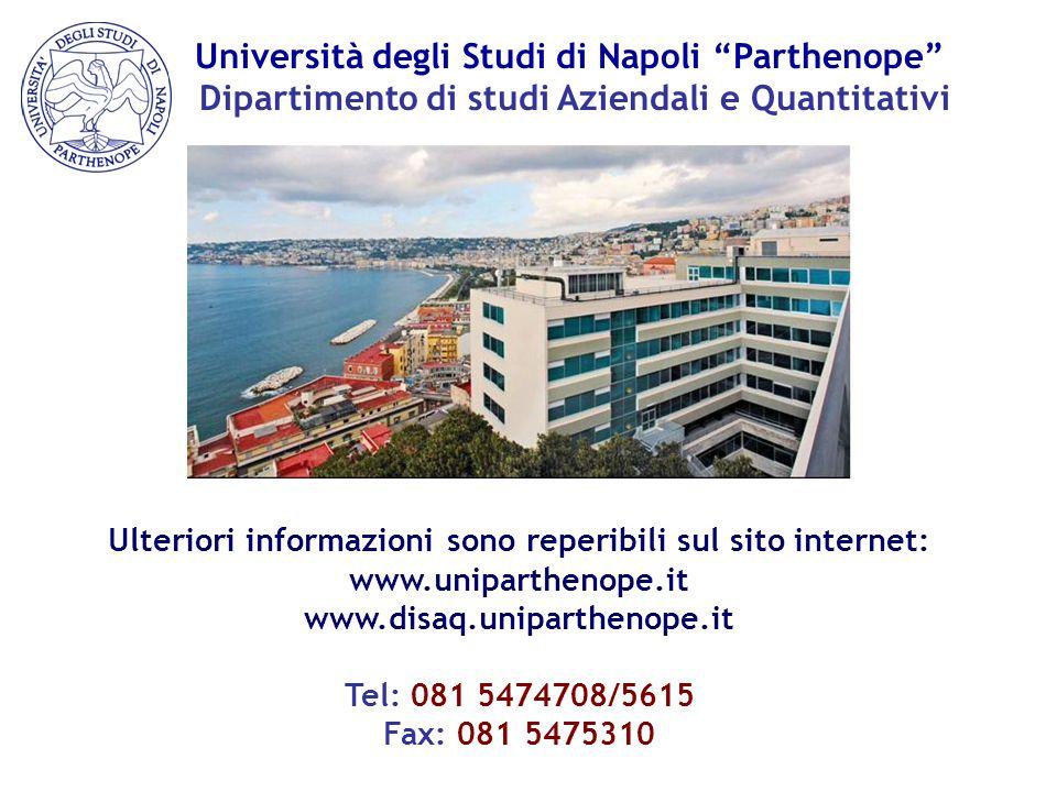 """Università degli Studi di Napoli """"Parthenope"""" Dipartimento di studi Aziendali e Quantitativi Ulteriori informazioni sono reperibili sul sito internet:"""