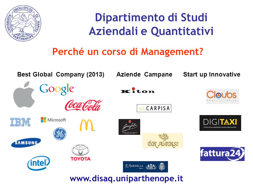 Perché un corso di Management? Dipartimento di Studi Aziendali e Quantitativi Best Global Company (2013)Aziende Campane Start up Innovative www.disaq.